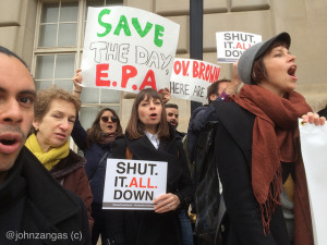 Environmentalists with Food and Water Watch call on the EPA to shut down the Alison Canyon gas storage facility./ Photo by John Zangas