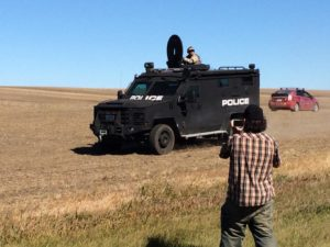 Police have used a military weapon called an LRAD, or sound cannon, on protestors./Photo by Doug Grandt